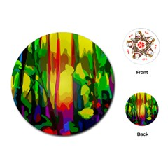 Abstract Vibrant Colour Botany Playing Cards (round)