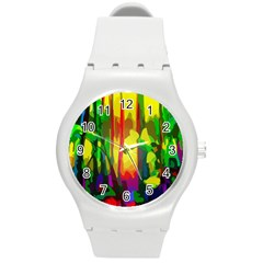 Abstract Vibrant Colour Botany Round Plastic Sport Watch (m)