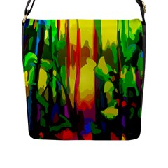 Abstract Vibrant Colour Botany Flap Messenger Bag (l)