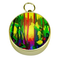 Abstract Vibrant Colour Botany Gold Compasses