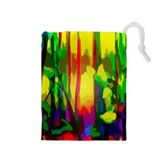 Abstract Vibrant Colour Botany Drawstring Pouches (medium)