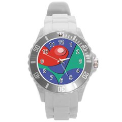 Clipart Portrait Illustration Round Plastic Sport Watch (l)