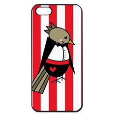Bird Cute Design Cartoon Drawing Apple Iphone 5 Seamless Case (black)