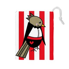 Bird Cute Design Cartoon Drawing Drawstring Pouches (large)