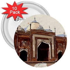 Agra Taj Mahal India Palace 3  Buttons (10 Pack)