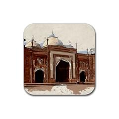 Agra Taj Mahal India Palace Rubber Coaster (square)