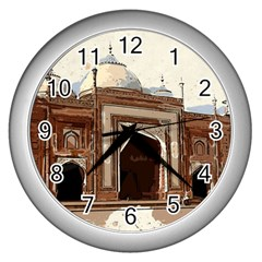 Agra Taj Mahal India Palace Wall Clocks (silver)