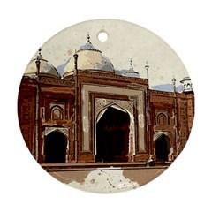 Agra Taj Mahal India Palace Round Ornament (two Sides)