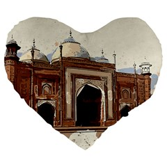 Agra Taj Mahal India Palace Large 19  Premium Flano Heart Shape Cushions