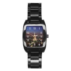 Paris At Night Stainless Steel Barrel Watch