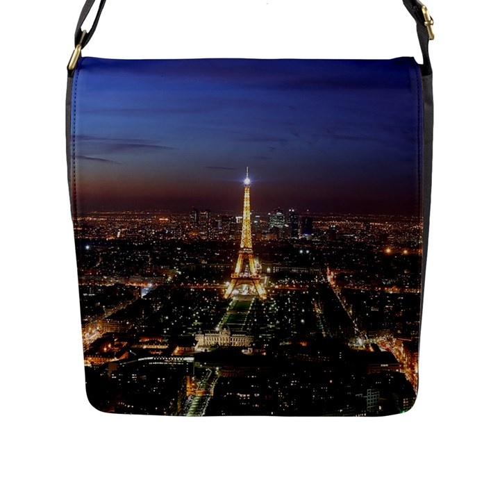 Paris At Night Flap Messenger Bag (L)