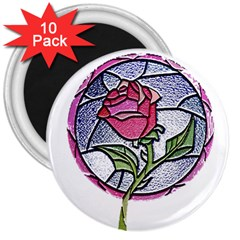 Beauty And The Beast Rose 3  Magnets (10 Pack)