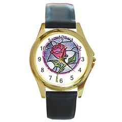 Beauty And The Beast Rose Round Gold Metal Watch