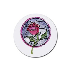 Beauty And The Beast Rose Rubber Round Coaster (4 Pack)