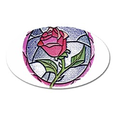 Beauty And The Beast Rose Oval Magnet