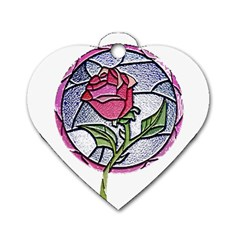 Beauty And The Beast Rose Dog Tag Heart (one Side)