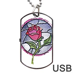 Beauty And The Beast Rose Dog Tag Usb Flash (one Side)