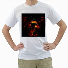 Dragon Legend Art Fire Digital Fantasy Men s T Shirt (white) (two Sided)