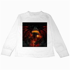 Dragon Legend Art Fire Digital Fantasy Kids Long Sleeve T Shirts