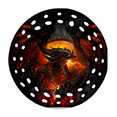 Dragon Legend Art Fire Digital Fantasy Round Filigree Ornament (two Sides)