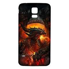 Dragon Legend Art Fire Digital Fantasy Samsung Galaxy S5 Back Case (white)