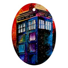 Dr Who Tardis Painting Oval Ornament (two Sides)