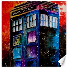 Dr Who Tardis Painting Canvas 16  X 16