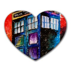 Dr Who Tardis Painting Heart Mousepads