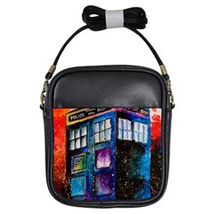 Dr Who Tardis Painting Girls Sling Bags