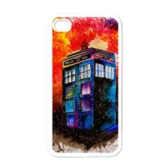 Dr Who Tardis Painting Apple Iphone 4 Case (white)