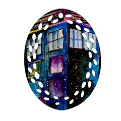 Dr Who Tardis Painting Ornament (oval Filigree)
