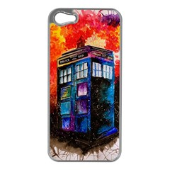 Dr Who Tardis Painting Apple Iphone 5 Case (silver)