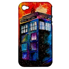 Dr Who Tardis Painting Apple Iphone 4/4s Hardshell Case (pc+silicone)