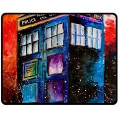 Dr Who Tardis Painting Double Sided Fleece Blanket (medium)
