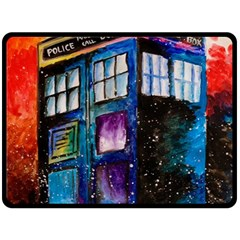 Dr Who Tardis Painting Double Sided Fleece Blanket (large)