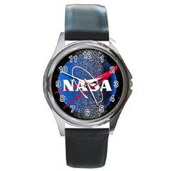 Nasa Logo Round Metal Watch