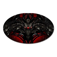 Black Dragon Grunge Oval Magnet
