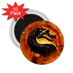 Dragon And Fire 2 25  Magnets (10 Pack)