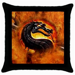 Dragon And Fire Throw Pillow Case (black)