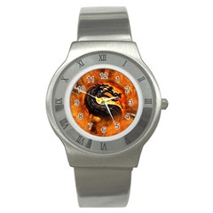 Dragon And Fire Stainless Steel Watch