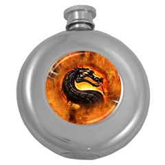 Dragon And Fire Round Hip Flask (5 Oz)