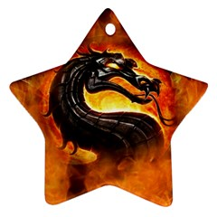 Dragon And Fire Star Ornament (two Sides)