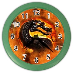 Dragon And Fire Color Wall Clocks