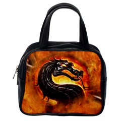 Dragon And Fire Classic Handbags (one Side)
