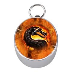 Dragon And Fire Mini Silver Compasses