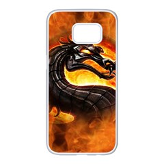 Dragon And Fire Samsung Galaxy S7 Edge White Seamless Case