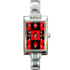 Harley Quinn Logo Pattern Rectangle Italian Charm Watch