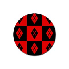 Harley Quinn Logo Pattern Rubber Round Coaster (4 Pack)