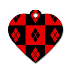 Harley Quinn Logo Pattern Dog Tag Heart (two Sides)