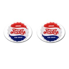 Pepsi Cola Bottle Cap Style Metal Cufflinks (oval)
